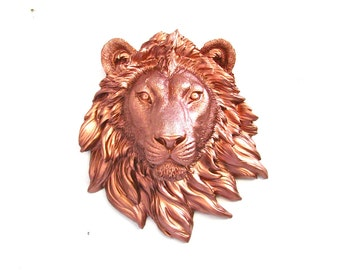 LITE BRONZE Small Faux Taxidermy Lion Animal Head Wall Decor Hanging wall mount / safari animal / kids room decor Home Decor in light bronze
