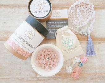 "DIY Jewelry Making Kit/Rose Quartz Mala Beads/Make your Own Mala Necklace ""Love & Compassion Mala Kit"" - 108 mala/Mala beads/108 Mala/Mala"