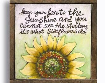 Framed Sunflowers Wall Art Gift for Her Yellow Flowers Decor Encouraging Helen Keller Quote Inspirational Sign Motivational Print