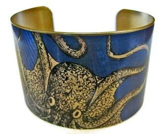cuff bracelet CURIOUS OCTOPUS Vintage style brass Gifts for her