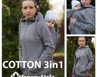 Best 3in1 Babywearing coat, baby wearing jacket, baby carrier cover, cotton, Front/Back kangaroo hoodie, S-2XL, gray, plus size, maternity
