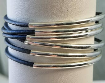 Leather wrap bracelet silver plated tube beads
