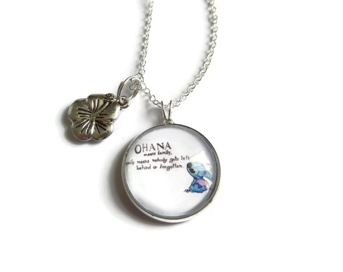 Ohana necklace, ohana means family, ohana gift, hawaii necklace, aloha gift, guitar necklace, hibiscus flower, family gift, sandykissesuk