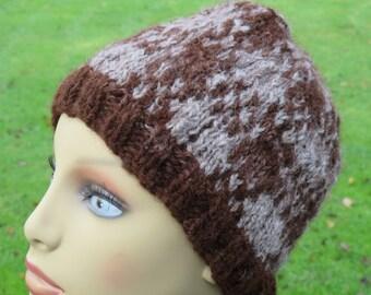 Check Patterned Alpaca Beanie Hat Handknitted In Grey and Brown Handspun Alpaca