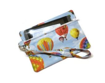 Hot air balloon zippered coin purse wristlet, phone wallet, novelty clutch.