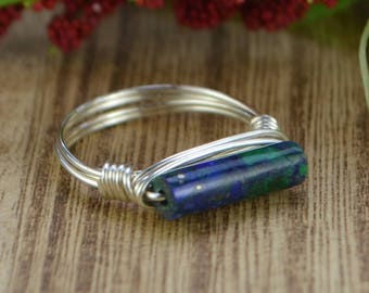 Sleek Azurite Ring - Sterling Silver, Yellow or Rose Gold Filled Wire Wrapped Gemstone Stackable Ring - Any Size 4 5 6 7 8 9 10 11 12 13 14