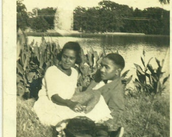 1930s Young Love African American Black Couple Park Laying Grass Husband Wife 30s Vintage Photograph Black White Photo