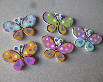 buttons x 5 mixed wood Butterfly with multicolored pattern 2 hole 30 x 20 mm