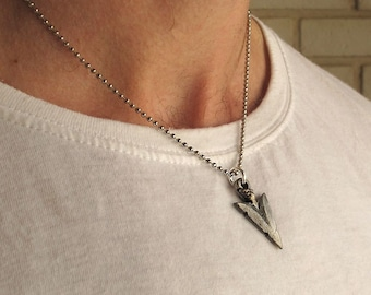 Leather mens necklace unisex silver tube leather cord mens necklace mens silver necklace arrow head pendant mens jewelry triangle necklace mens pendant antique necklace for men mozeypictures Image collections