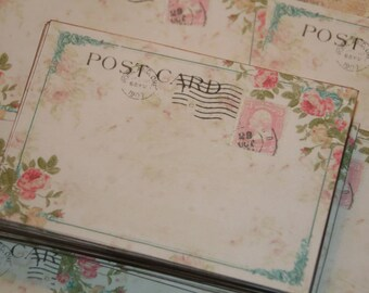 Wedding Guestbook Alternative,  Vintage Post Cards,   Wedding Wish Cards, Destination Wedding, Pink Roses, 100