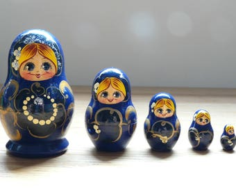 Supercute Vintage Chinese Matryoshka, 80s, China blue