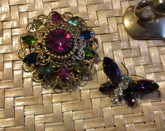 two vintage rhinestone pins
