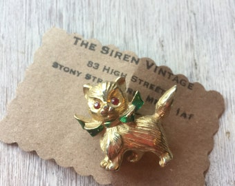 Vintage 1950s cute kitty cat gold tone brooch