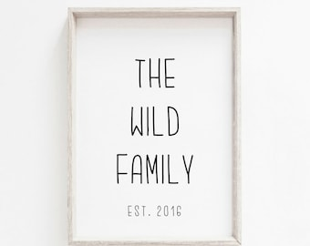 Personalised Family Print A3 A4 A6 - home print