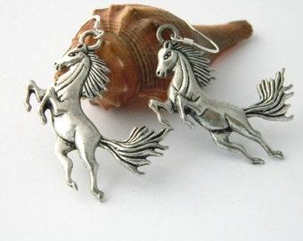 Large Horse Earrings Silver Color Dangle Earrings