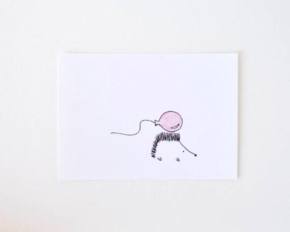 Cute Simple Line Art : Cute porcupine drawing simple nursery art red balloon