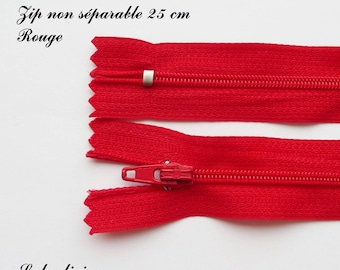 1 simple not separable 25 cm zipper: Red