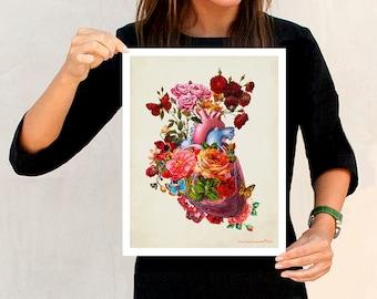 "Heart Flowers, 11"" x 14"", Anatomy Medical print, Registered Nurse Gift, Nurse Graduation gift, Vintage Anatomy Heart, Let your Heart Bloom"