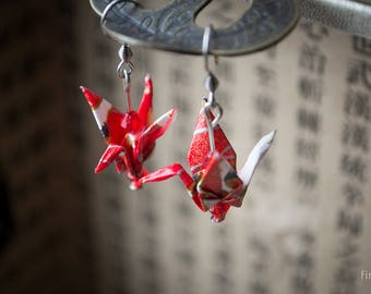 Origami Crane Earrings (reds)