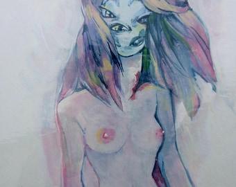 original art - girl with many eyes