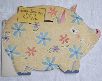 Vintage Birthday Card - Glitter Piggy Bank Pig to Save Dimes - Used