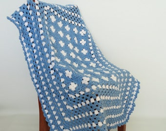 Crochet Baby Blanket Afghan, Blue, White, Granny Squares, Baby Boy, Shower Gift, Bedding, Nursery Decor, Crib