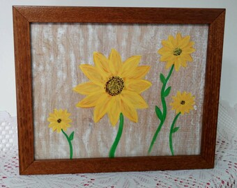 Sunflower Painting, Christmas Tree Painting, Pumpkin Painting, 3 piece Painting, Acrylic Painting, Spring Painting,  Framed Painting on Wood