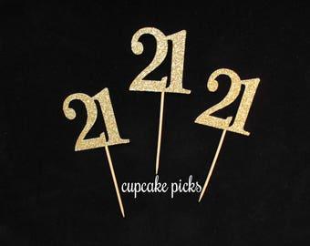21st Birthday Cupcake Picks, 21st Birthday Cupcake Toppers, 21st Birthday Party Decorations