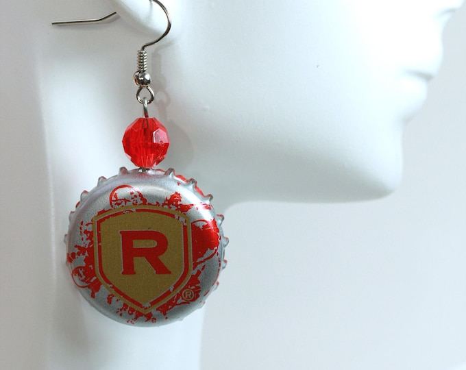Redd's Ale Brand Beer Bottle Cap Festival Drop Earrings, Upcycled Bottle Cap Earrings, Beer Lover Earrings, Festive Red and Silver Earrings