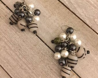 Black and White Striped Clustered Earrings, Cluster Earrings, Glass Bead Earrings, Beaded Earrings