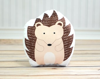 Toddler Gift, Hedgehog Pillow, Woodland Animal Plush, Kids Throw Pillow, Cabin Nursery Decor, Unique Baby Shower Gift, Soft Baby Bedding