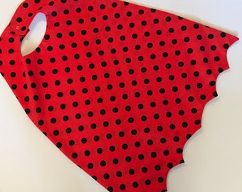 Captain Underpants Inspired Kids Costume Superhero Cape Red and Black Polka Dot Cape