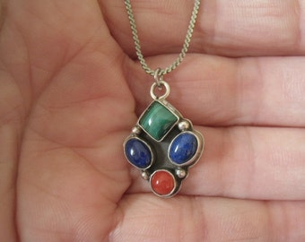 """Sterling Silver Lapis Coral Malachite Gemstone Beaded Charm Pendant Necklace 18.5"""" (1135)"""
