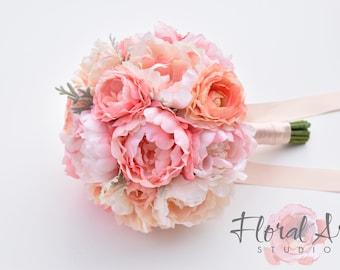 Silk Peony Bouquet, Wedding Bouquet, Blush Peony Wedding Bouquet, Bouquets, Peony And Ranunculus Wedding Bouquet, SEASIDE ROMANCE Collection