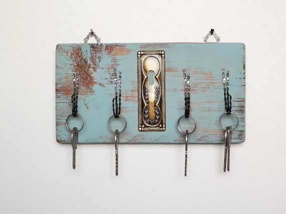 Appendichiavi portachiavi da parete in legno con ganci in for Appendichiavi da muro