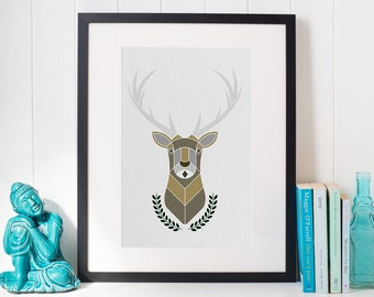 Elk Digital Print; Woodland Themed