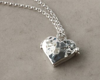 Sterling Silver Heart Locket necklace, Hammered, adjustable chain, Keepsake jewelry