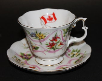 "Royal Albert Bone China Teacup and Saucer ""Our Emblems Dear"""