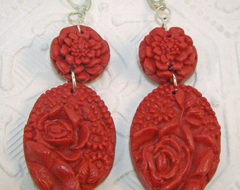 PLAIN FANCY All Red Carved Look Floral Drop Earrings