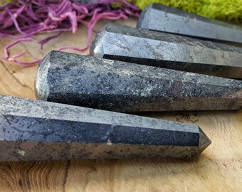 Hematite Crystal Healing Wand  - Hand Cut Natural Stone Point for Crystal Grids or Terrarium 215