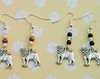 Pug Earrings, Animal Earrings, Dog Earrings, Pug Jewellery, Dog Charm, Pug Fashion, Pug Life, Pug Fan, Apricot Pug, Fawn Pug, Black Pug, Pet