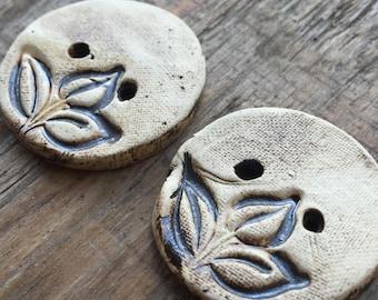 Dark leaves - set of handmade ceramic unique buttons