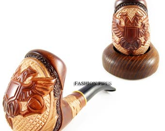 """Tobacco Pipe """"Double Eagle"""" Carving Handmade Smoking pipe/pipes. New Design Wooden pipe/pipes Handcrafted"""