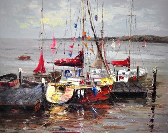 Oil painting , seascope painting , oil on canvas, boats painting, sea painting