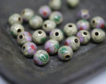 Chinese Cloisonne Beads 6mm Tan Cloisonne Bead Enamel Beads Metal Beads (8 beads) CL03