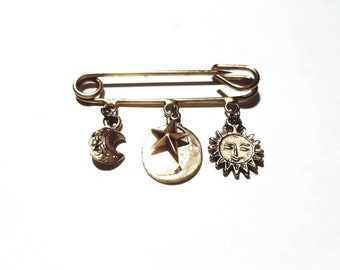 Vintage Gold with Dangling Moon and Stars Charms Safety Pin Kilt Pin