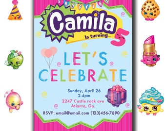 Personalized Shopkins Party Invite Digital file !