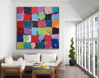 Original Color Block Abstract Painting / Colorful Color Block Painting / Modern Art / Colorful Abstract Art / Colorblock Painting / XL Art
