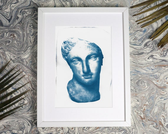 Greek Woman Bust Sculpture, Cyanotype Print on Watercolor Paper, A4 size (Limited Edition)