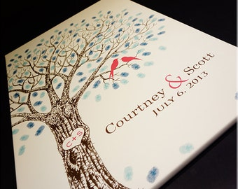 Wedding Tree Guest Book // Wedding Guest Book Alternative // Thumbprint Tree // Canvas Fits 25-350 Fingerprints // Many Sizes Available #L